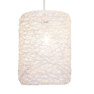 An Image of Abaca Straight Cylinder Pendant Shade - White