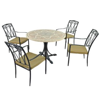 An Image of Montpellier 4 Seater Dining Set with Ascot Chairs Brown and Black