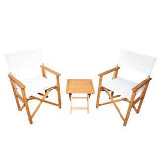 An Image of Homebase Directors Chair Bistro Set - Natural
