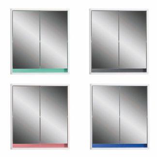 An Image of Senna Double Door Mirrored Bathroom Cabinet - White