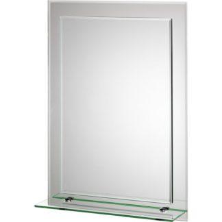 An Image of Croydex Devoke Rectangular Double Layer Bathroom Mirror with Shelf