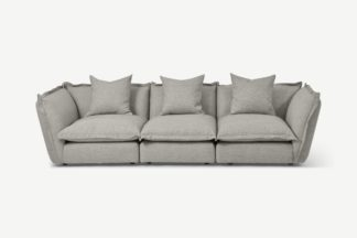 An Image of Fernsby 3 Seater Sofa, Silver Recycled Weave