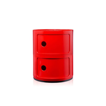 An Image of Kartell Componibili Cabinet 3 Element Red