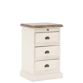 An Image of Carisbrooke Reclaimed Wood 3 Drawer Bedside Cabinet Stucco White