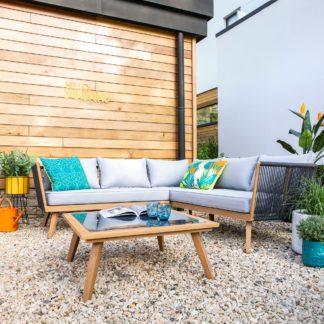 An Image of Elements 5 Seater Grey Rope Corner Sofa Set Grey