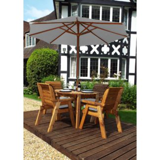 An Image of Charles Taylor 4 Seater Round Dining Set with Grey Seat Pads and Parasol Wood (Brown)