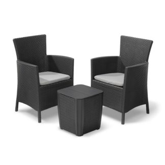 An Image of Keter Iowa Rattan Balcony Outdoor Garden Furniture Set - Graphite with Grey Cushions