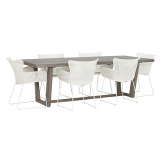 An Image of Kos 6 Seat Garden Dining Set with Marbella Chairs