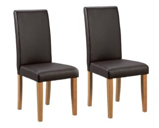 An Image of Argos Home Pair of Midback Dining Chairs - Chocolate