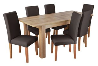 An Image of Habitat Miami Curve Extending Table & 6 Chocolate Chairs