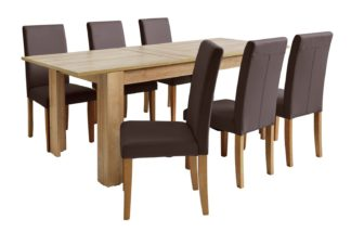 An Image of Habitat Miami XL Extending Table & 6 Chocolate Chairs