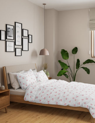 An Image of M&S 2 Pack Cotton Mix Cherry Bedding Sets