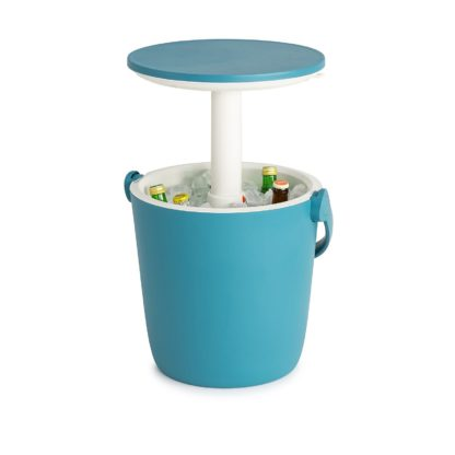 An Image of Keter Go Bar Plastic Outdoor Ice Cooler Table Garden Furniture - Blue / White