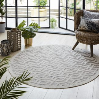 An Image of Mondo Natural Circle Geometric Indoor Outdoor Rug Brown and White