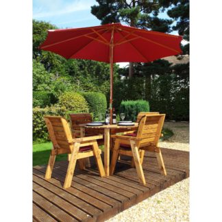 An Image of Charles Taylor 4 Seater Wooden Round Dining Set with Burgundy Seat Pads and Parasol Brown