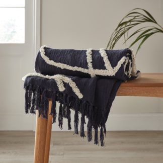 An Image of Elements Paco Tufted 130cm x 180cm Throw Navy (Blue)
