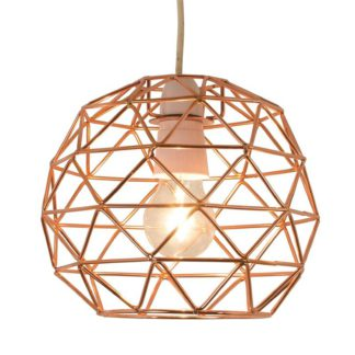 An Image of Bertie Geometric Easy Fit Pendant Light Shade - Copper