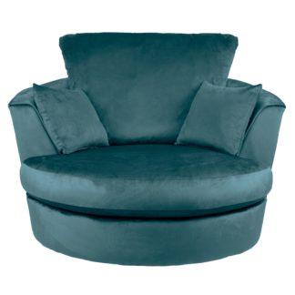 An Image of Blake Velvet Swivel Chair Teal (Blue)