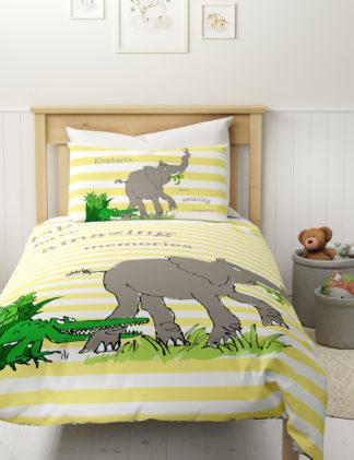 An Image of M&S Roald Dahl™ & Nhm™ Pure Cotton Elephant Bedding Set