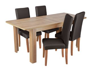 An Image of Habitat Miami Curve Extending Table & 4 Chocolate Chairs