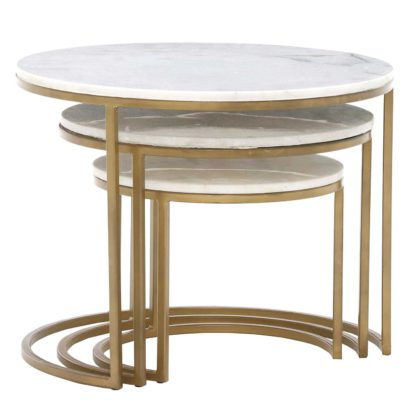 An Image of Gower Marble Set Of Tables, Gold
