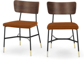 An Image of Amalyn Set of 2 Dining Chairs, Rust Velvet & Walnut