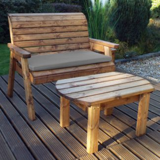 An Image of Charles Taylor 2 Seater Wooden Bench with Grey Seat Pad Wood (Brown)