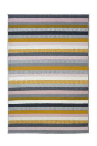 An Image of Homemaker Pastel Stripe Rug - 160x230cm - Multicoloured