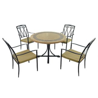 An Image of Vermont 4 Seater Dining Set with Ascot Chairs Beige, Grey and Black