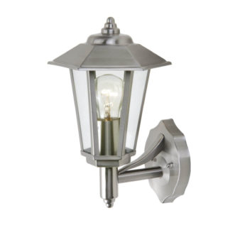 An Image of Lutec Grosvenor Stainless Steel Outdoor Wall Lantern