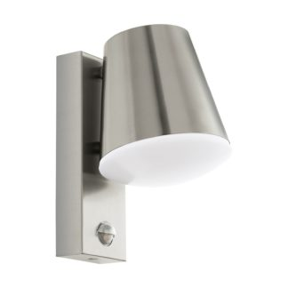 An Image of Eglo Caldiero Outdoor Light With PIR - Stainless Steel