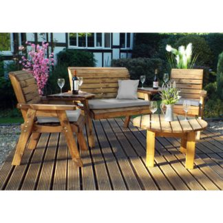 An Image of Charles Taylor 4 Seater Lounge Set with Grey Seat Pads Wood (Brown)