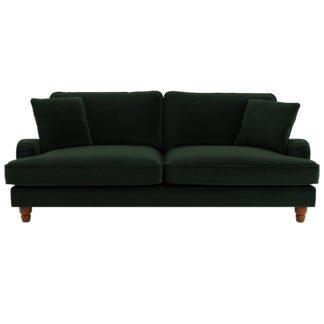 An Image of Beatrice Velvet 4 Seater Sofa Bottle (Green)