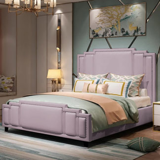 An Image of Enumclaw Plush Velvet Double Bed In Pink