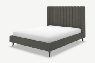 An Image of Cory Double Bed, Granite Grey Boucle with Walnut Stain Oak Legs