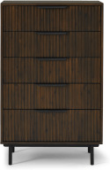 An Image of Anwick Tall Multi Chest of Drawers, Dark Stain Acacia & Black