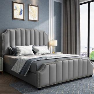 An Image of Abilene Plush Velvet King Size Bed In Grey