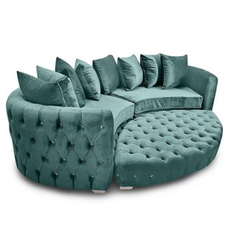 An Image of Krakow Malta Plush Velour Fabric Curved Sofa In Seaspray