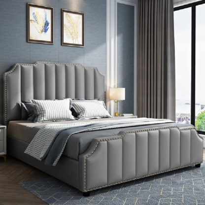 An Image of Abilene Plush Velvet Super King Size Bed In Grey