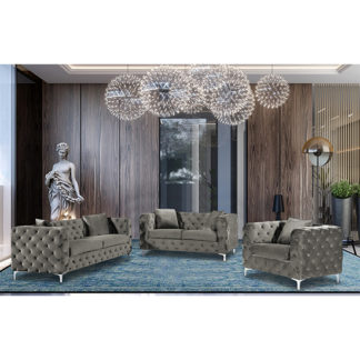 An Image of Mills Malta Plush Velour Fabric Sofa Suite In Putty