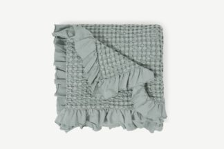 An Image of Lozen Waffle 100% Organic Cotton Bedspread, 150 x 200cm, Seafoam