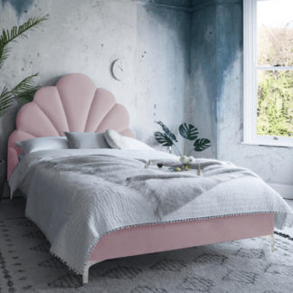An Image of Hartington Plush Velvet Single Bed In Pink