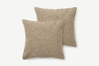 An Image of Mirny Set of 2 Boucle Cushions, 55 x 55cm, Taupe