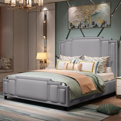 An Image of Enumclaw Plush Velvet King Size Bed In Grey