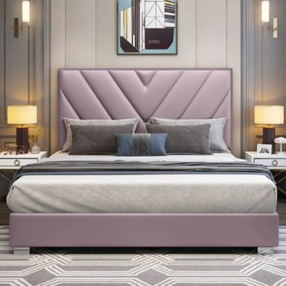 An Image of Dewitt Plush Velvet Double Bed In Pink