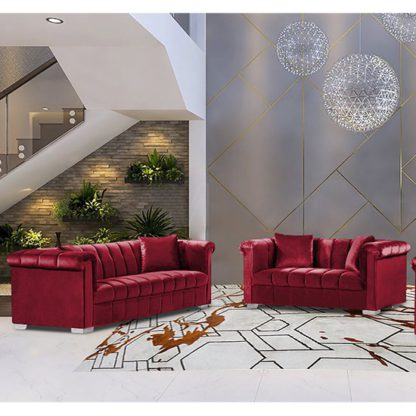 An Image of Kenosha Velour Fabric 2 Seater And 3 Seater Sofa In Red