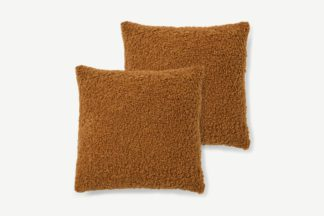 An Image of Mirny Set of 2 Boucle Cushions, 45 x 45cm, Terracotta