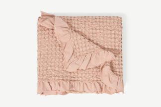 An Image of Lozen Waffle 100% Organic Cotton Bedspread, 150 x 200cm, Plaster Pink