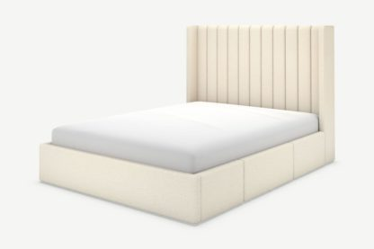 An Image of Cory Double Bed with Storage Drawers, Ivory White Boucle