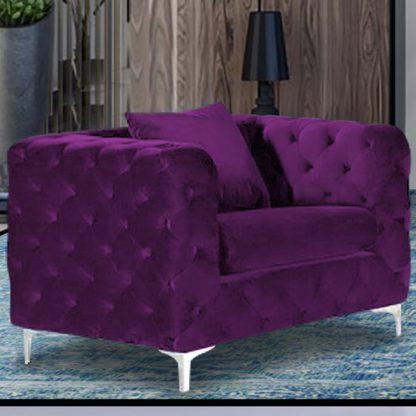An Image of Mills Malta Plush Velour Fabric Armchair In Boysenberry